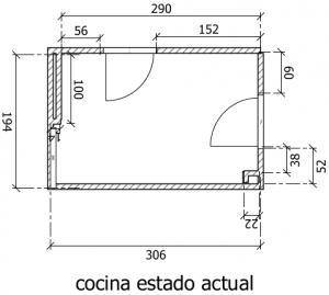 planos con mediciones planta cocina