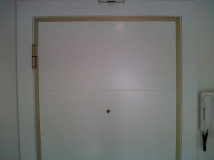 detalle panelado puerta entrada blindada lacado blanco