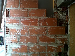 pared nueva con aislante ladrillo rasillón 40x20x7