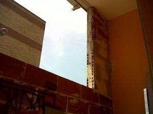 tabique para nuevo cerramiento en fachada vivienda