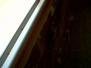 detalle perfil de ventana aluminio sin cristal