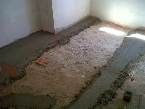 nueva solera nivelada en planta de vivienda