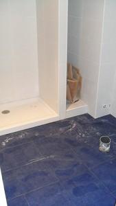 reformado plato de ducha en lugar de bañera y espacio para armario empotrado