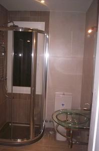 baño reformado con mampara de ducha inox